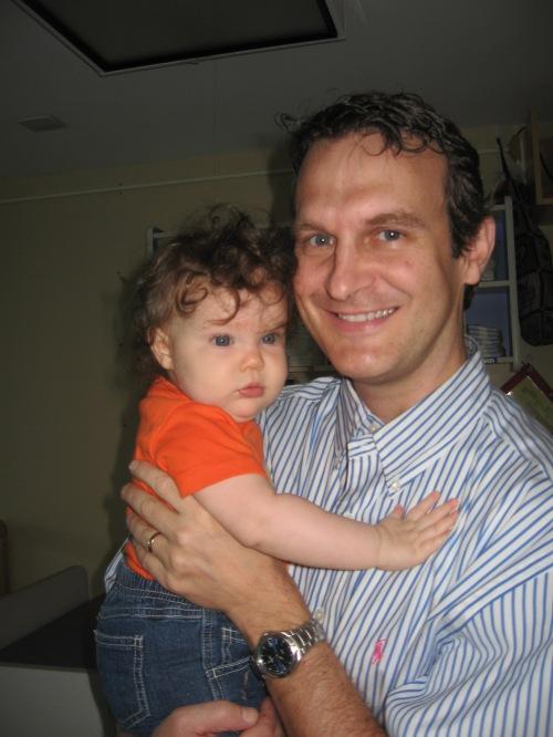 Hugging Daddy bye-bye